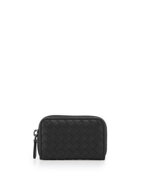 Ardoise Woven Mini Zip-Around Wallet, Dark Gray