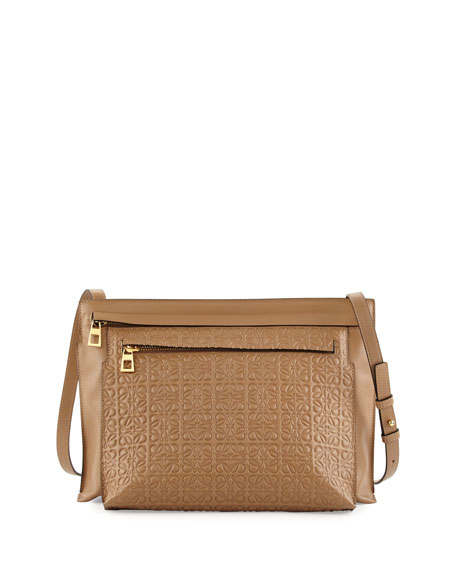 Loewe Large Embossed Double-Pouch Crossbody Bag, Tan