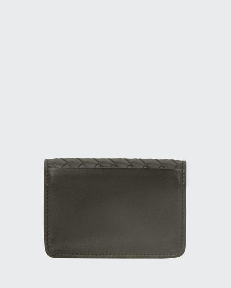 Woven Flap Credit Card Case, Light Gray