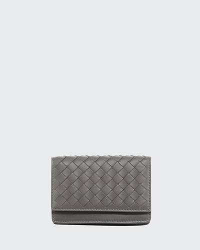 Woven Flap Credit Card Case, Light Gray