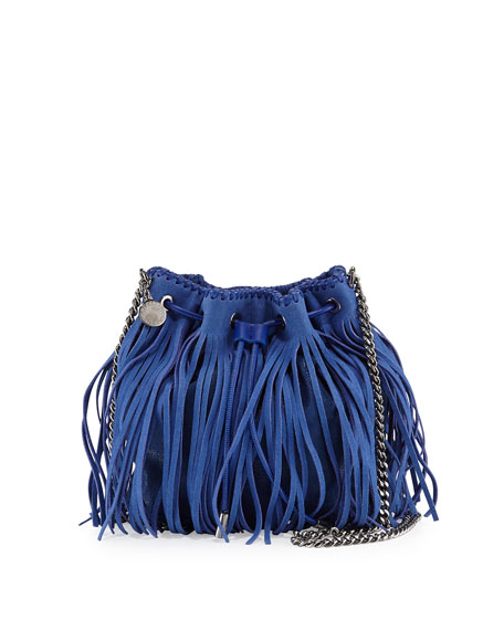 Falabella Small Fringe Bucket Bag, Blue