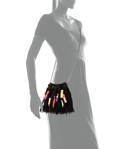 Falabella Small Fringe Bead Bucket Bag, Black