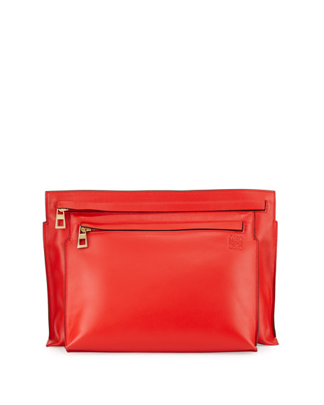 Loewe Smooth Calfskin Large Double-Pouch Crossbody Bag, Red