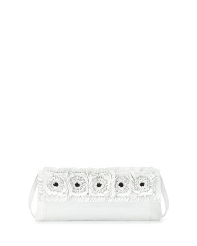 Crocodile Floral Flap Clutch Bag, White