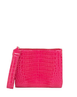 Crocodile Zip-Top Wristlet Bag, Pink