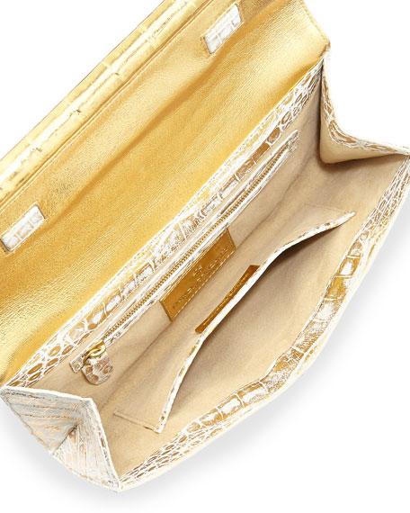 Crocodile Front-Flap Bar Clutch Bag, Gold