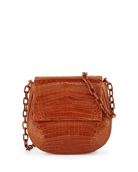Crocodile Chain-Strap Saddle Bag, Cognac