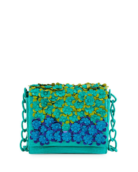 Nancy Gonzalez Crocodile Floral-Applique Crossbody Bag, Green