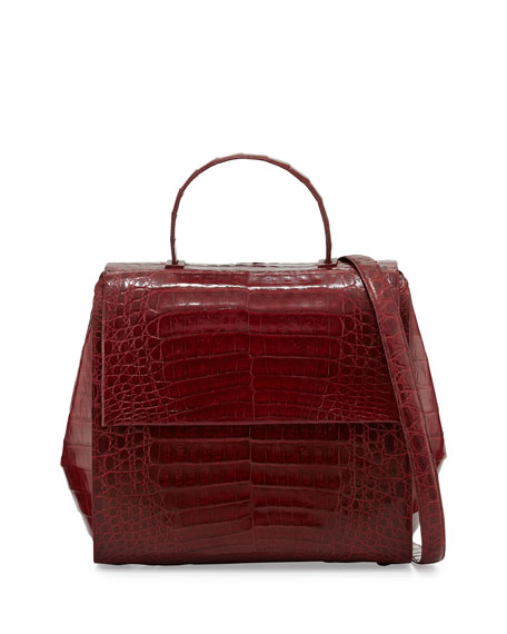 Kelly Medium Crocodile Frame Bag, Red Shiny