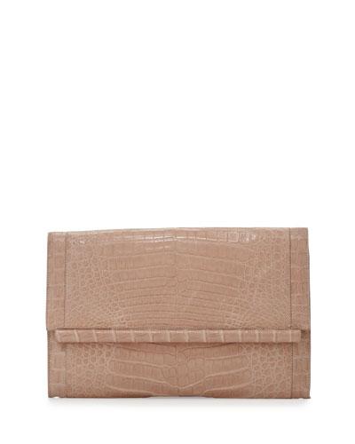 Crocodile Large Bar Clutch Bag, Nude Matte