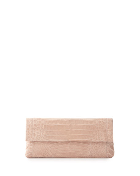 Nancy Gonzalez Gotham Crocodile Flap Clutch Bag, Nude
