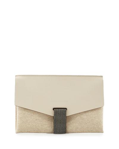 Monili-Tab Leather Flap Clutch Bag, Cream