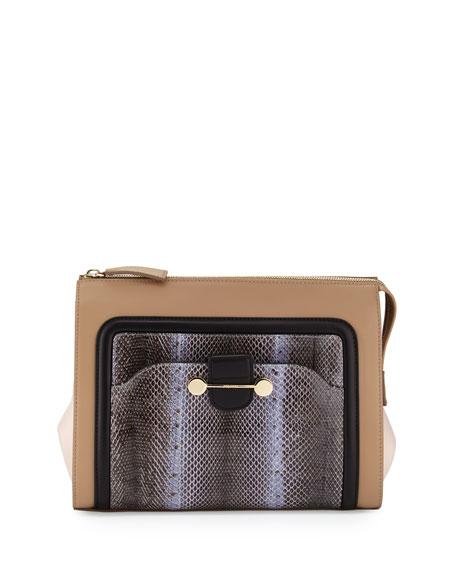 Daphne Watersnake & Leather Clutch Bag, Birch