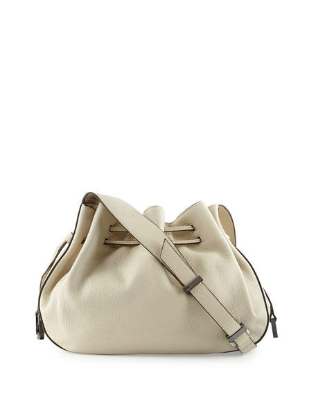 Pebbled-Leather Bucket Bag, Dark Bone