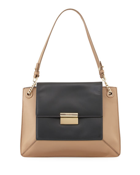 Christy Two-Tone Leather Shoulder Bag, Charcoal