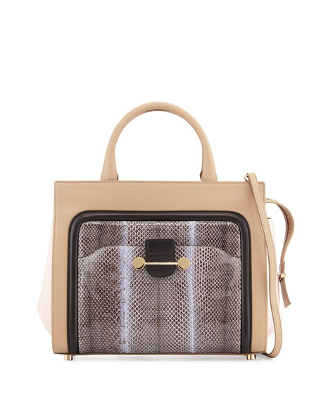 Daphne Watersnake & Leather Crossbody Tote Bag, Birch