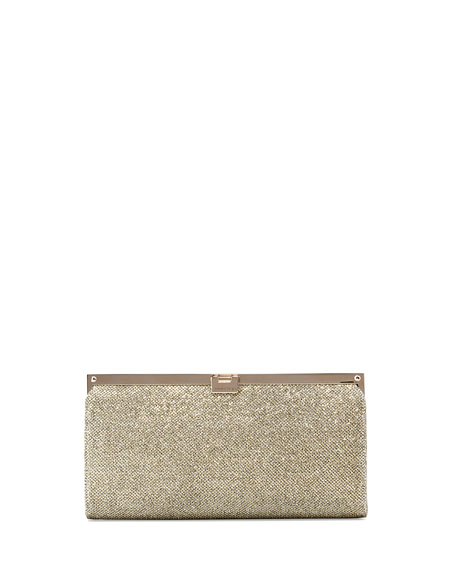 Camille Metallic Frame Clutch Bag, Light Bronze