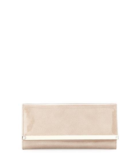 Milla Glitter Patent Clutch Bag, Sand