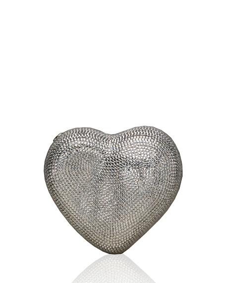 Heart Crystal Clutch Bag, Silver
