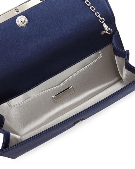 Tuxedo Crystal-Trim Satin Clutch Bag, Purple/Silver
