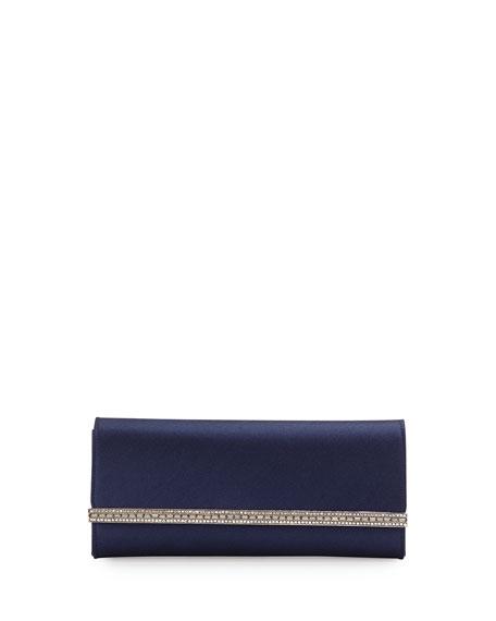 Judith Leiber Couture Tuxedo Crystal-Trim Satin Clutch Bag,