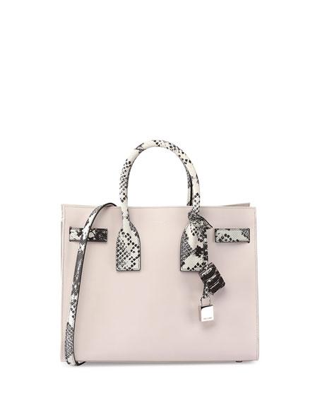 d1ed0457d67 Saint Laurent Sac de Jour Small Python-Stamp Satchel Bag, Black/White/Gray
