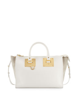 Holmes Leather and Canvas Tote Bag, White/Sand