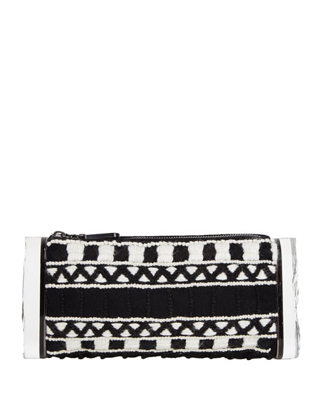 Edie Parker Soft Lara Embroidered Clutch Bag, Black