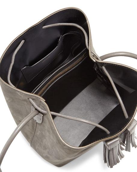 TOM FORD Suede Double-Tassel Medium Bucket Bag, Dark Gray fd63d51b81b8