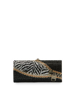 Replacements Cylinder Crystal Evening Clutch Bag, Champagne/Jet