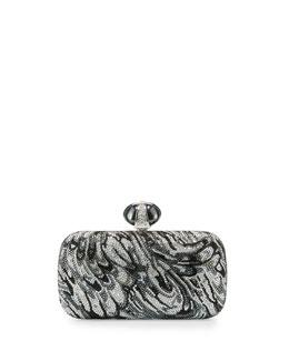 New Soap Dish Crystal Evening Clutch Bag, Silver Night/Multi