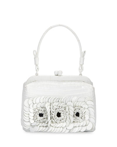 Crocodile Small Floral Frame Bag, White