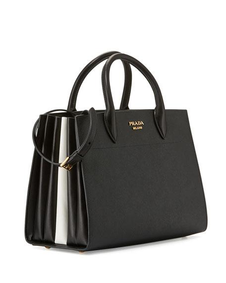 b23725cb93bc13 Bibliotheque Medium Saffiano Top-Handle Tote Bag, Black/White (Nero+Bianco