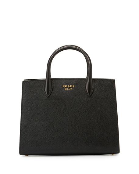 Prada Bibliotheque Medium Saffiano Top Handle Tote Bag Black White Nero Bianco