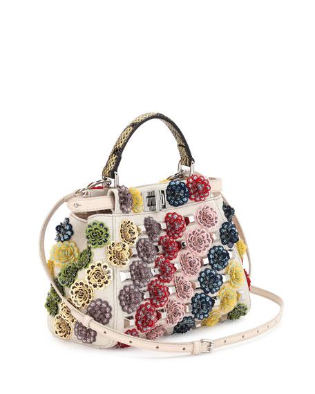 Peekaboo Mini Floral Canvas Satchel Bag, Multi