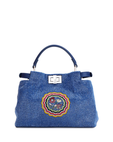 Peekaboo Mini Micro Circle Embroidered Silk Satchel Bag, Blue/Yellow