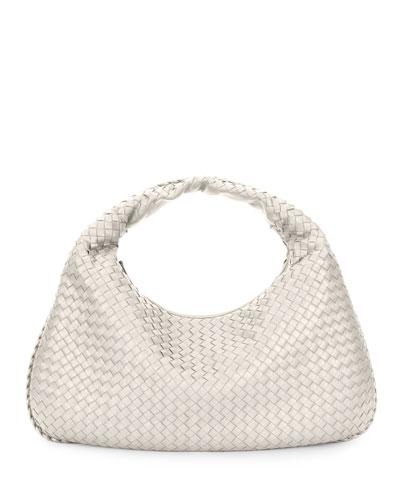 Intrecciato Woven Large Hobo Bag