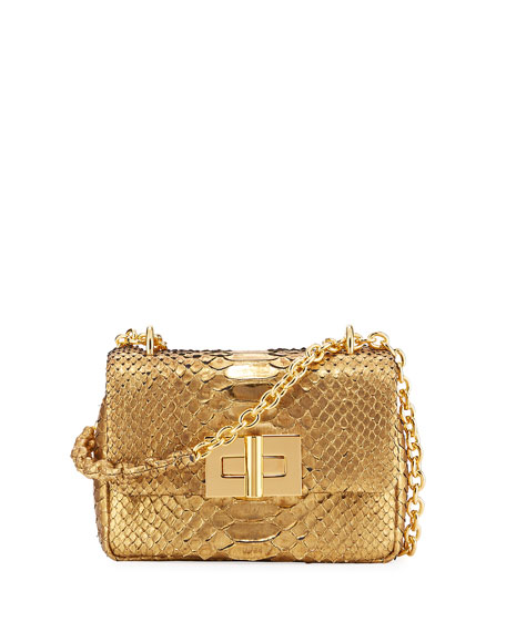 Natalia Metallic Python Chain Shoulder Bag