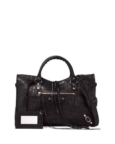 Classic City Crocodile-Embossed Shoulder Bag