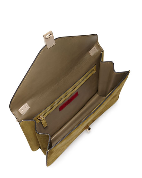 9c507527cf2 Valentino Garavani Enamel Panther Suede Shoulder Bag