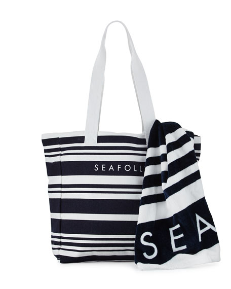 Fringe Benefits Striped Beach Tote Bag & Towel, Blue/White