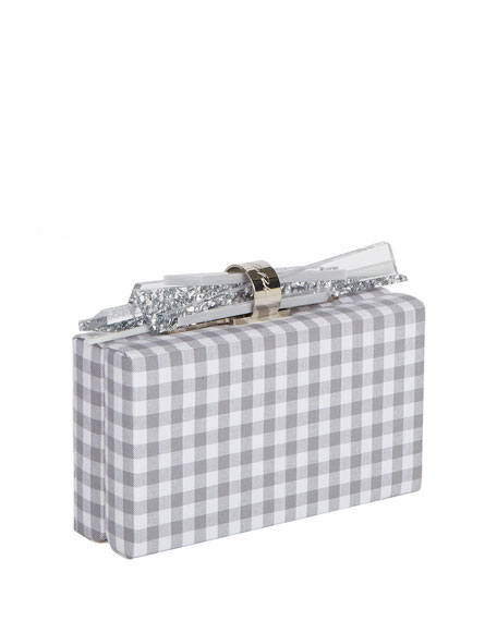 Wolf Gingham Cotton Clutch Bag, Gray