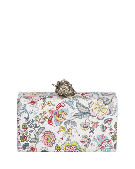 Wolf Paisley Clutch Bag with Strawberry Clasp