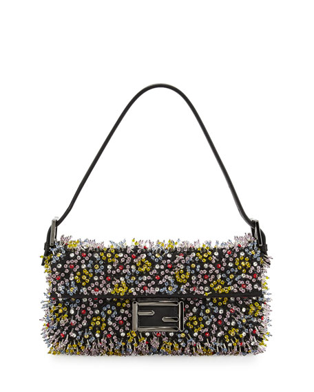 Baguette Beaded Leather Shoulder Bag