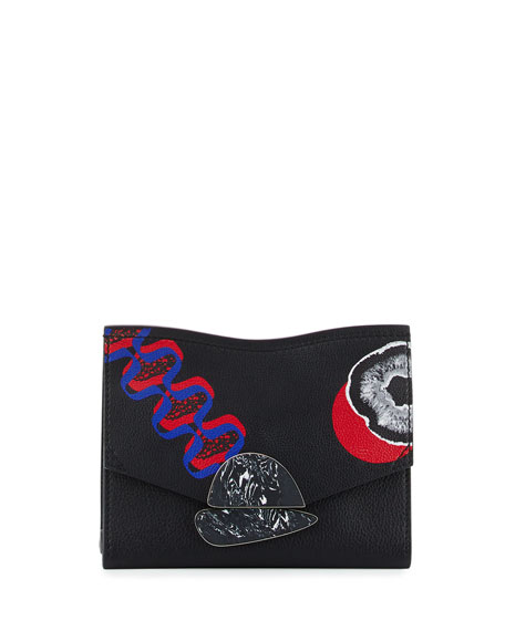 Small Curl Printed Leather Clutch