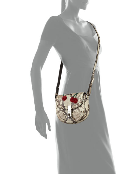 Ghianda Mini Python Saddle Bag with Sequined Cherries, Gray Pattern