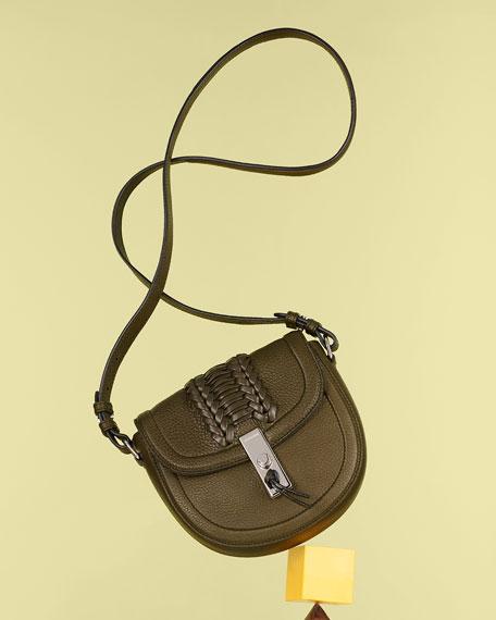 Ghianda Woven Leather Saddle Mini Bag, Olive