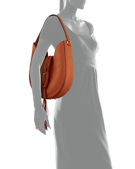 Ghianda Woven Leather Hobo Bag, Saddle