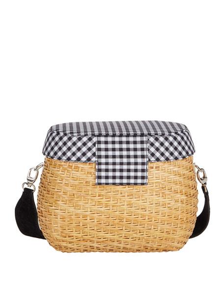 Jane Gingham Straw Basket Crossbody Bag