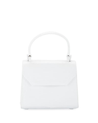 NANCY GONZALEZ Crocodile Small Flap Top-Handle Crossbody Bag in White